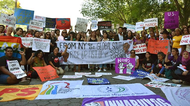 Manifestation för miljöförsvarare under FN:s Agenda 2030-möte i New York i juni 2019.