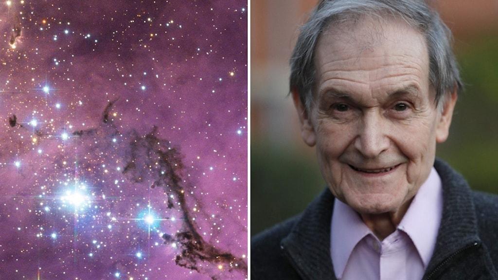 En galax till vänster och en man till höger.