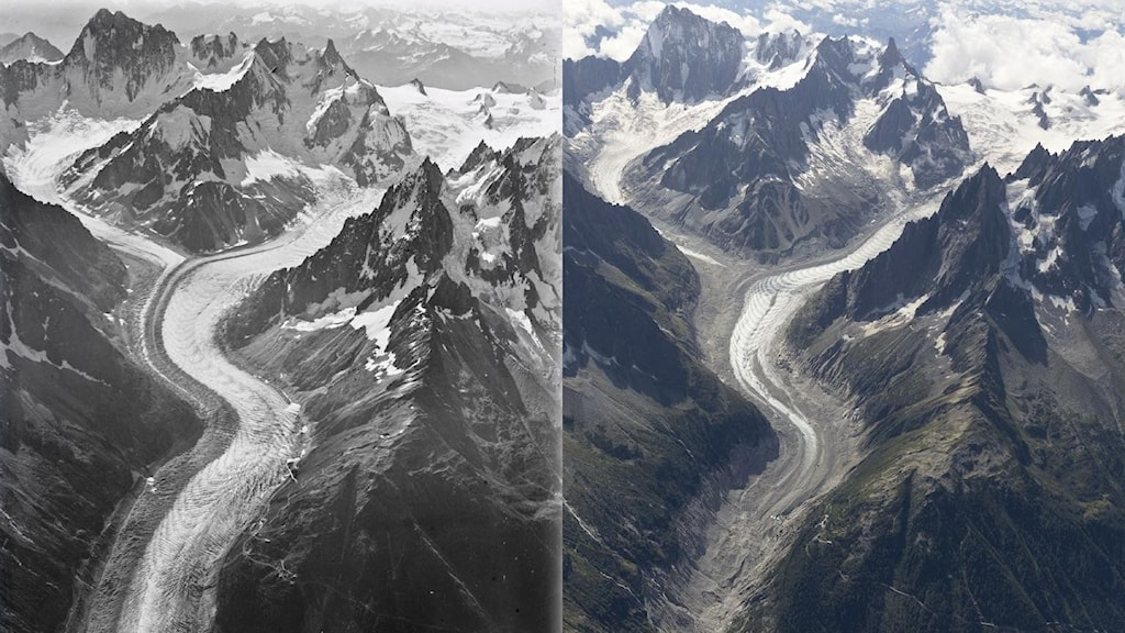 Två sammansatta bilder av bergslandskap med mer is på den vänstra och mindre på den högra.