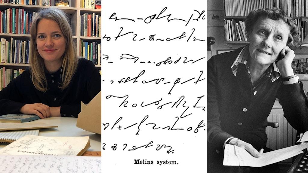 Kvinna vid ett skrivbord, exempel på stenografi och en äldre kvinna med ett pappersark i handen.
