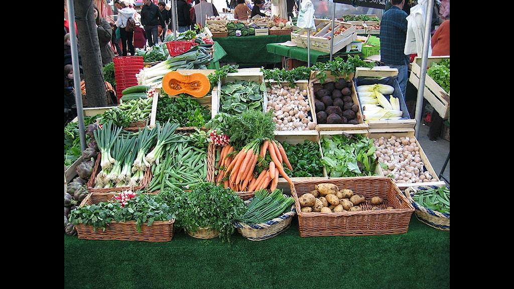 Morotsknippen. lökknippen, persiljeknippen, melon, endive, potatis i korg med mera grönsaker snyggt presenterade för matglad publik.