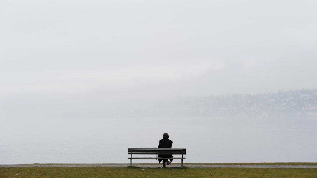 En ensam man på en bänk vid en dimmig sjö.