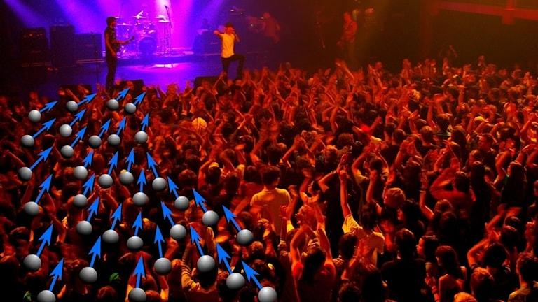 konsert och pilar som pekar ut rörelser