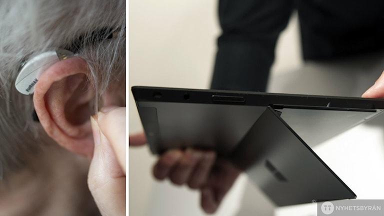 Bildcollage.Vänster bild. Hörapparat sätts in i öra. Höger bild. Surfplatta hålls i två händer. Foto: Fredrik Sandberg, Damian Dovarganes / TT