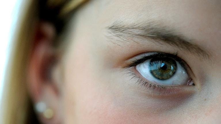 En närbild på en kvinnas öga.