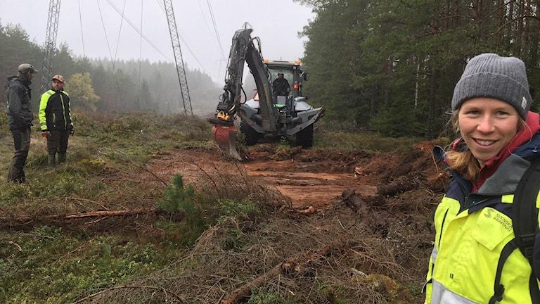 Niklas Johansson, Länsstyrelsen i Jönköping, grönklädd med grön skärmmössa står till vänster om traktorgrävaren och pratar med maskinentreprenören Håkan Gustavsson i mörkblå jacka med lysande gula ärmar. Den grå traktorns röda skopa skrapar av den tunna vegetationen av ljung och lingonris. I bakgrunden krafledningsstolpar av stål och ter kraftledningar som flörsvinner bort i den dimmiga skogen. Sara Widell, skoglig strateg på Svenska kraftnät, grå mössa blont halvlångt hår, leende i förgrunden till höger. Kraftfullt gult lysande jacka.