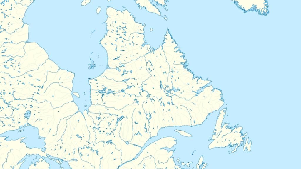 Karta över Labradorhalvön i Kanada.