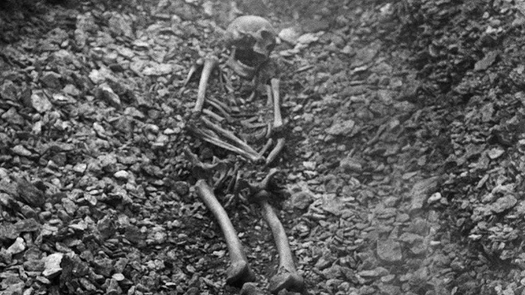 Ett skelett ligger i en forntida grav.