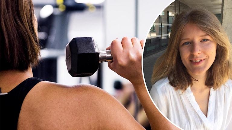 Delad bild. Den vänstra på en kvinnas axel och hand som i ett gym som håller i en mantel. Den högra delen ett porträtt av Emilia Berin.