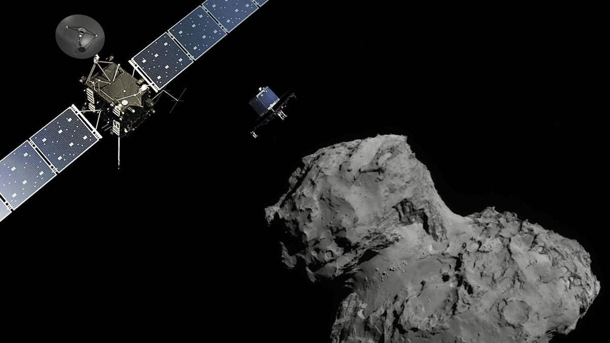 Rymdsonden Rosetta med landaren Philae på väg ner mot kometen 67P.