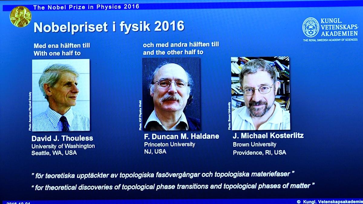 2016 års nobelpristagare i fysik