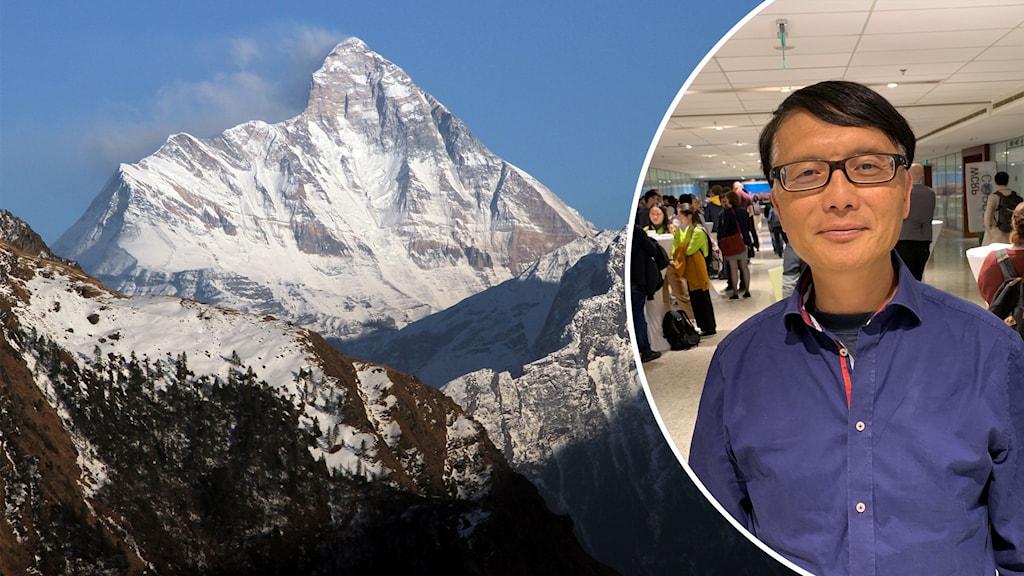 Delad bild. Den vänstra föreställer berget Nanda Devi. Den högra en porträttbild på Deliang Chen