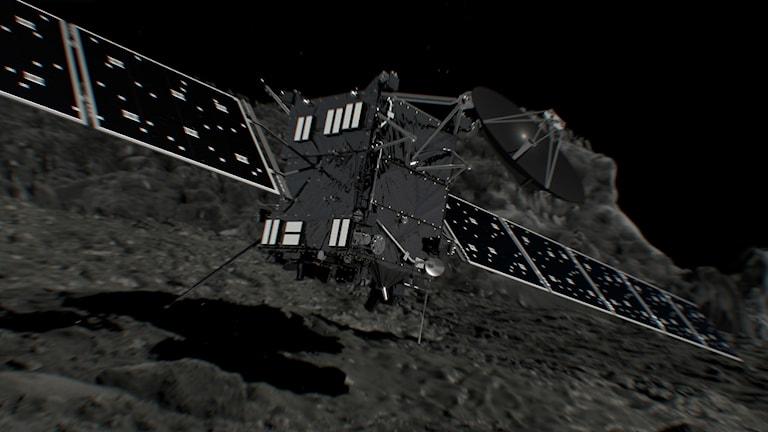 En konstnärs bild av hur det kan se ut när rymdsonden Rosetta kraschar mot kometen 67P