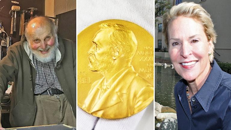 Delad bild där den vänstra visar Arthur Ashkin. Mittenbilden en Nobelmedalj och den vänstra Frances Arnold.