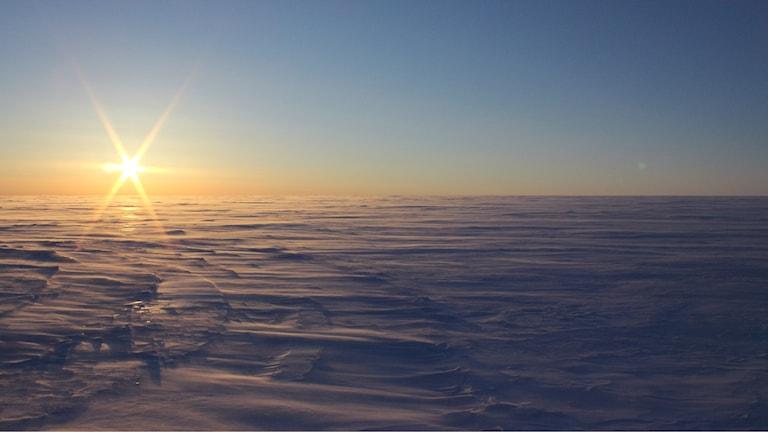 Flygfoto över glaciären Devon Ice Cap i nordöstra Kanada.