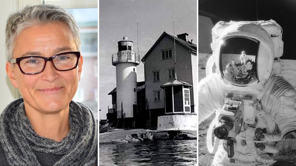 Bildmontage av tre bilder: kvinna med halsduk, fyrtorn bredvid hus och astronaut