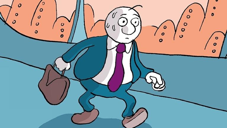 seriefigur som ser ut som en kontorsarbetare