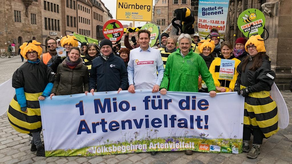 Miljöaktivister i Bayern, en del av dem utklädda till bin, har utformat en ny naturskyddslag som den sittande regeringen kan tvingas anta mot sin vilja.