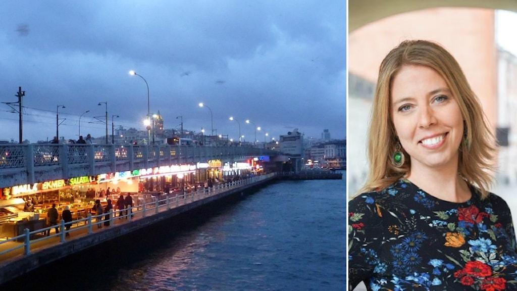 kollage av två bilder; Galatabron i Istanbul och forskaren Karin Eriksson-Aras