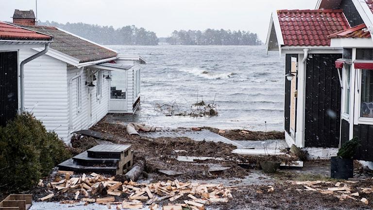 översvämning drabbar hus i Kalmar.