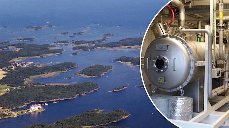 Vänster bild: Vänern med öar och Läckö slott. Höger bild Ozonbehandling av avloppsvattnet på Nykvarnsverket i Linköping tar bort läkemedelsrester.
