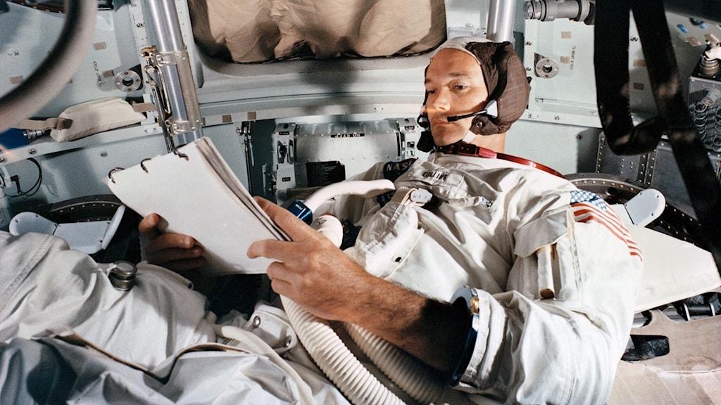Nasa-astronauten Michael Collins övar inför månfärden 1969.