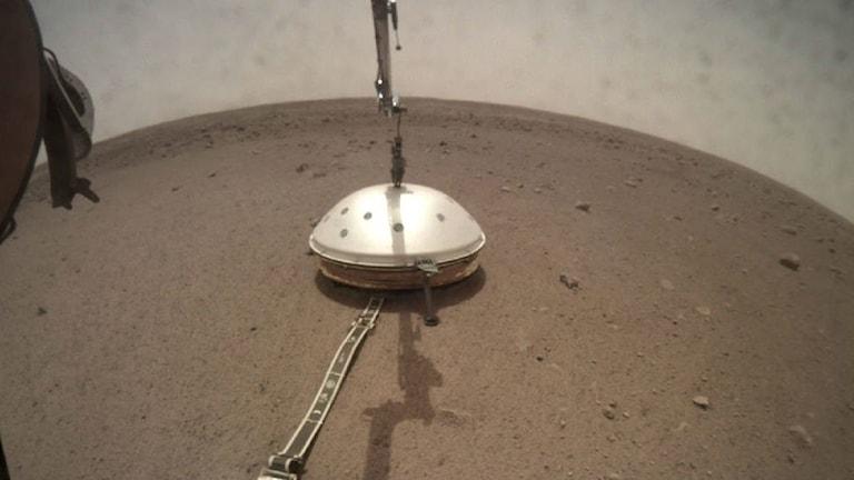 Seismometern hos Marssonden Mars Insight på Mars yta.