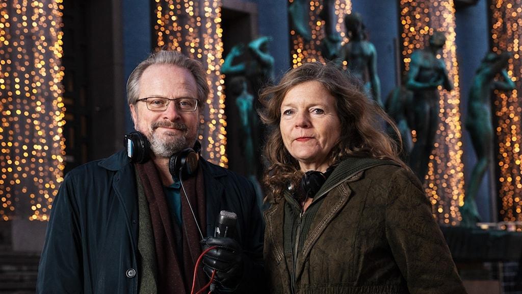Karsten Thurfjell och Lena Nordlund står framför Kionserthuset i Stockholm.