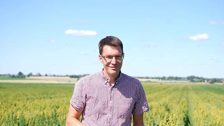 Man framför ett fält där det odlas quinoa.