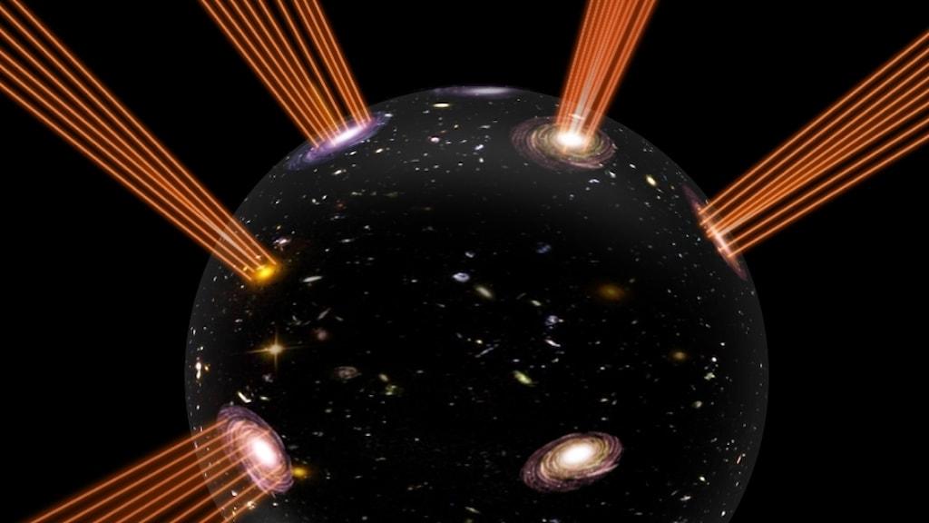Bilden visar vårt universum som randen på en expanderande bubbla. Strålarna som spretar ut från den representerar strängarna vars ändpunkter utgör materien i vårt universum.