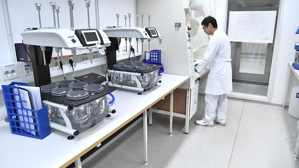 En person inne på ett laboratorium.