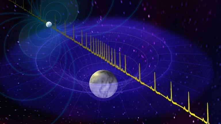 Radiosignaler från en neutronstjärna med en vit dvärg i förgrunden.