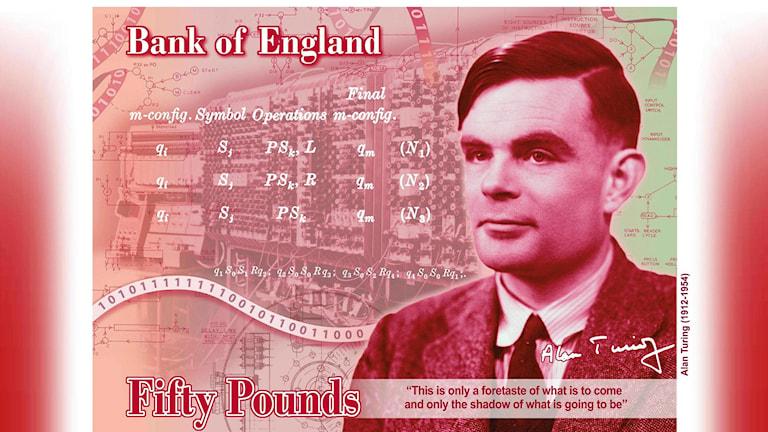 Matematikern Alan Turing på den nya femtiopundssedeln.