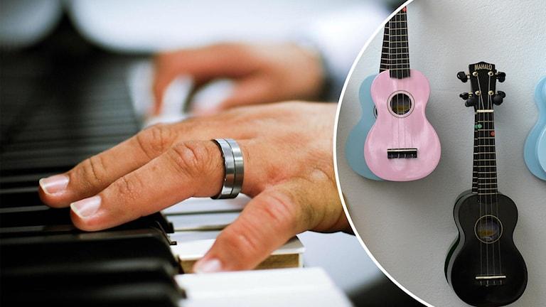 Delad bild där den vänstra är på en hand som spelar piano. Den högra är på några ukuleler som hänger på en vägg.