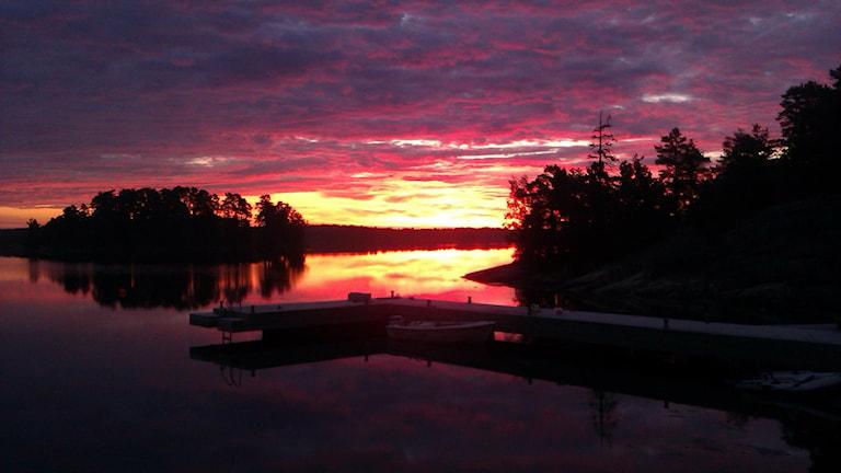 soluppgång över Gryts skärgård