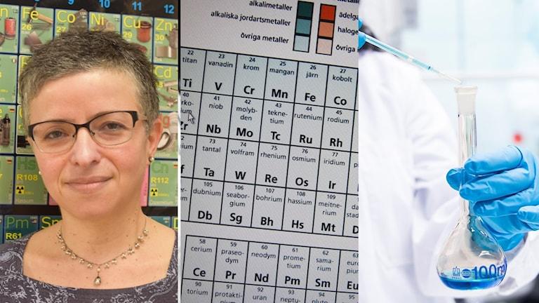 Tredelad bild. längst till höger ett porträtt av NO-läraren Ira Löfman i Uppsala. I mitten det periodiska systemet och längst till vänster en pincett och ett provrör.