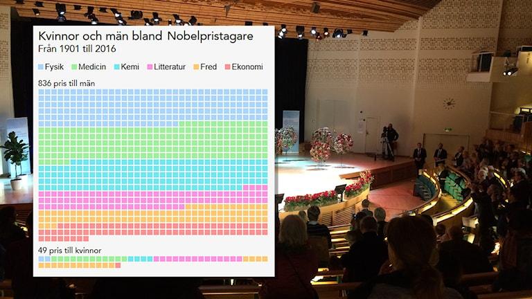 Grafik visar kvinnor och män som fått Nobelpriset. Foto: Nils Lindström/Sveriges Radio.