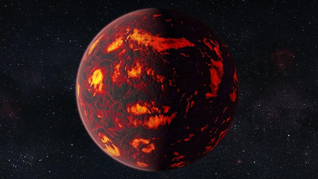 En mycket het planet som glöder på ytan.