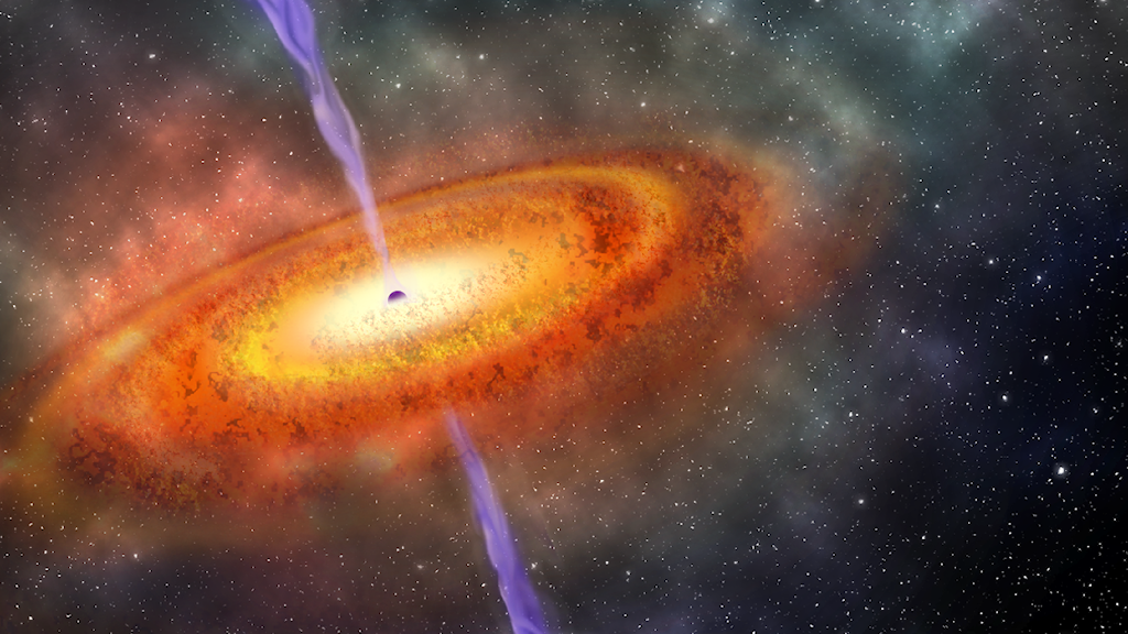 svart hål i mitten, omgivet av gasliknande moln
