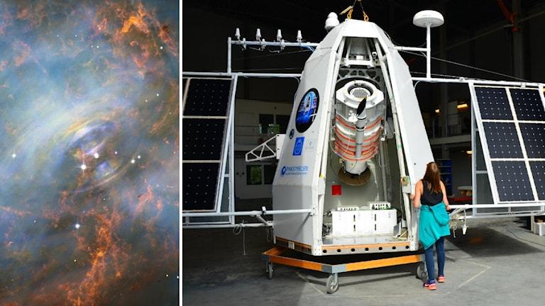 Bildkollage av nebulosan och teleskopet som ska utforska röntgenstrålning från en pulsar