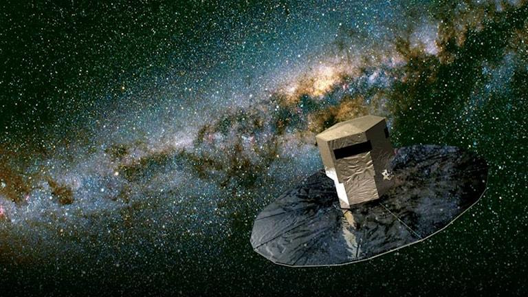 En illustration av satelliten Gaia i rymden.
