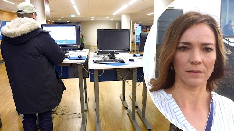 En man står vid en dator på Arbetsförmedlingen. Ett porträtt på Tora Nord, doktor i arbetsvetenskap.