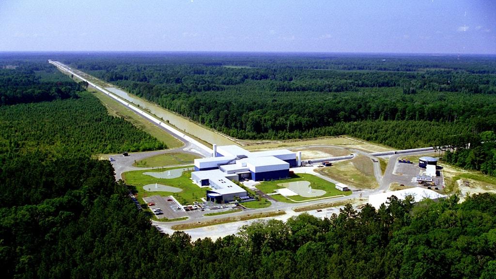 Gravitationsvågorna har upptäckts från två stora anläggningar i USA som går under namnet Ligo (Laser Interferometer Gravitational-Wave Observatory). På bilden syns den ena anläggningen som ligger i Livingston, Louisiana.