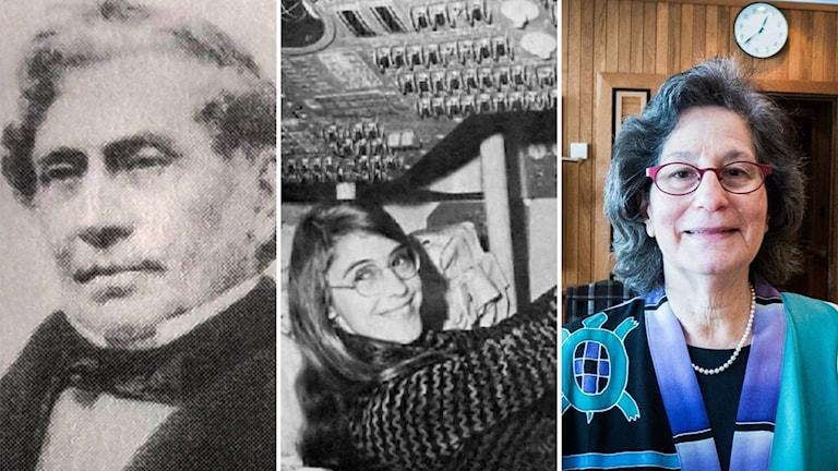 Tredelad bild. Från vänster: Margareth Bulkley, Margaret Hamilton och Susan Solomon.