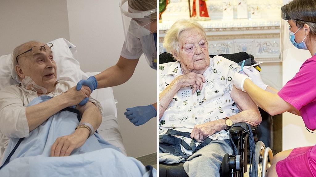 En man till vänster som tar en sjuksköterska i handen. Till höger en sjuksköterska som vaccinerar en kvinna.