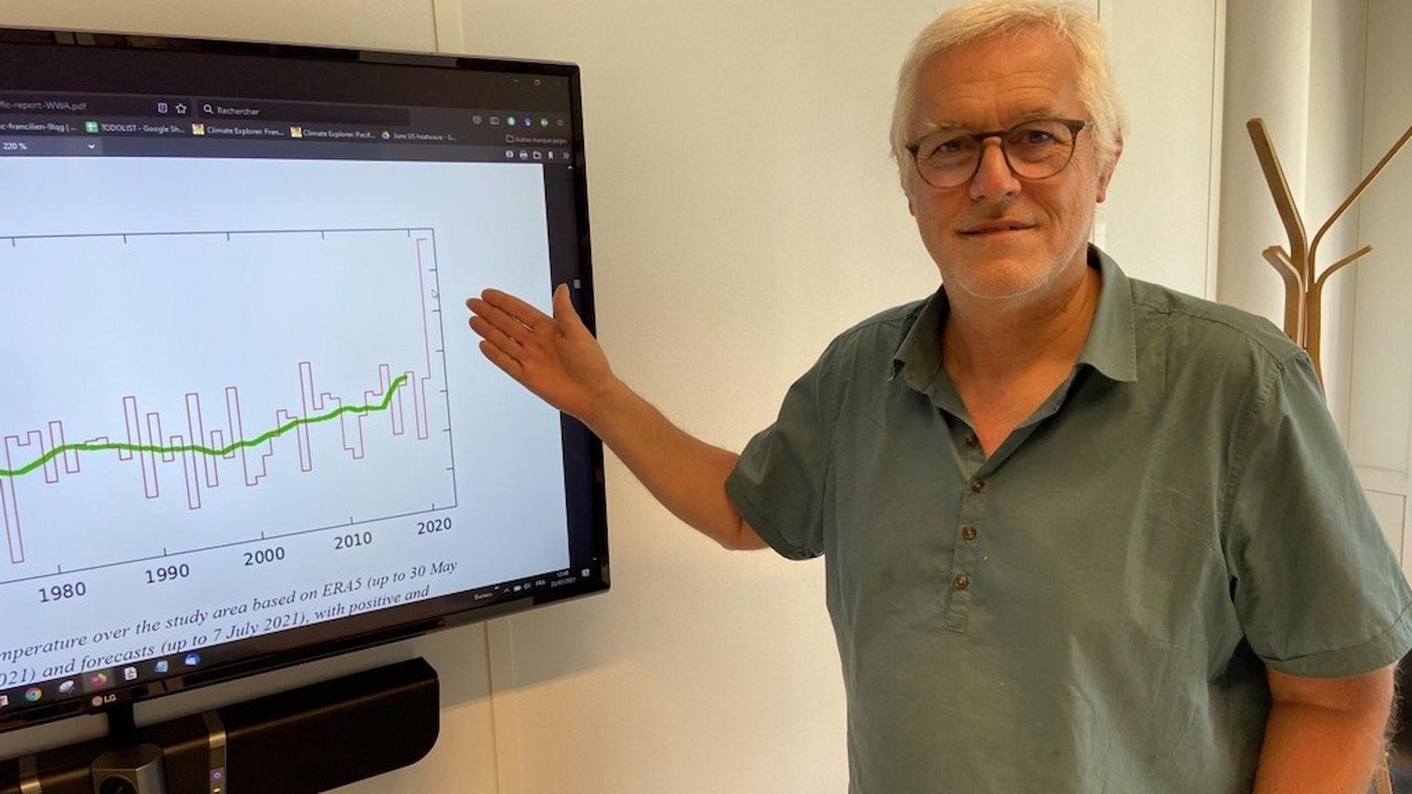 Klimatforskare och extremväderexpert Robert Vautard vid Sorbonnes universitet i Paris bredvid en graf som visar värmeböljan i Kanada i slutet av juni.