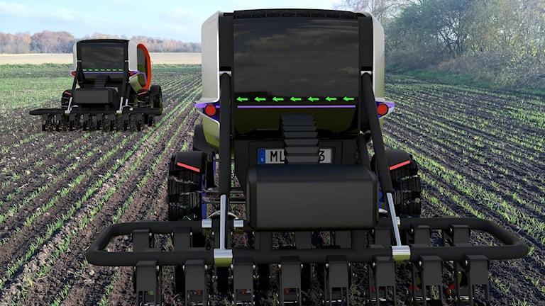 Teckning på två förarlösa jordbruksmaskiner.