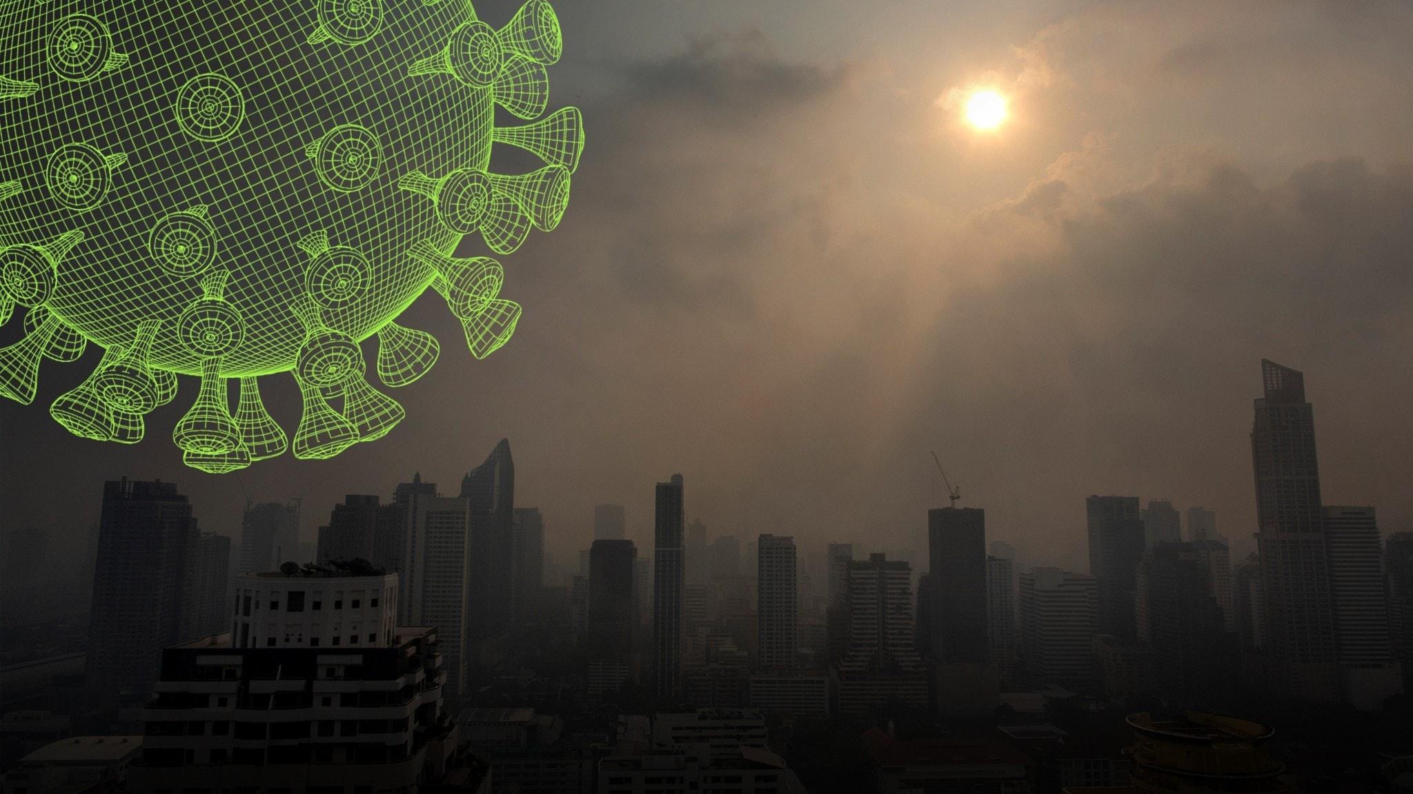 Luftföroreningar över en stad i Thailand.