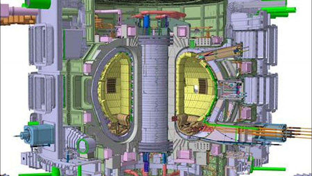 Ritning av så kallad tokamak för kärnfusion, i genomskärning. Bild: ITER Organization