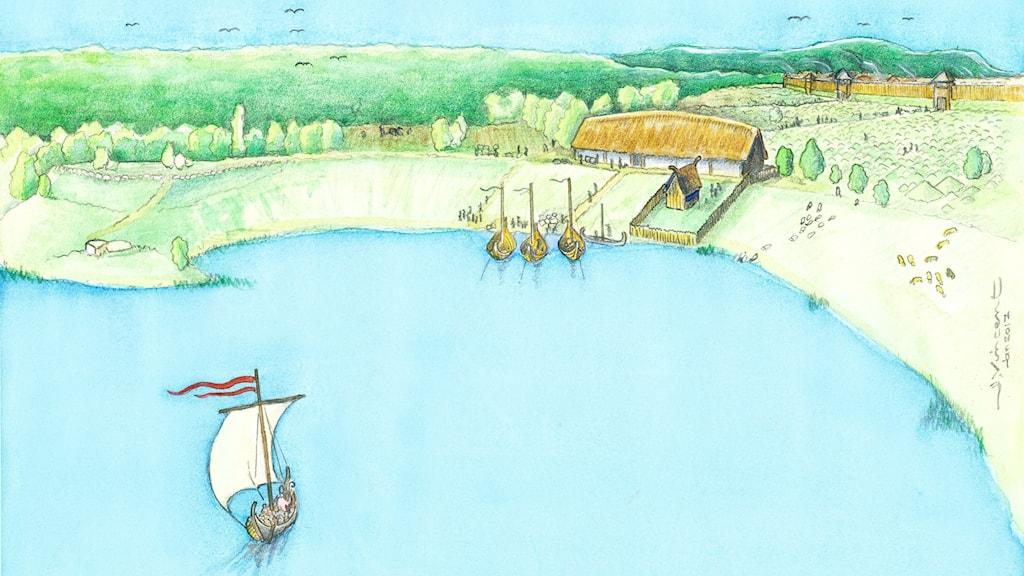 Tecknad bild av hur stormannagården på Birka kan ha sett ut.